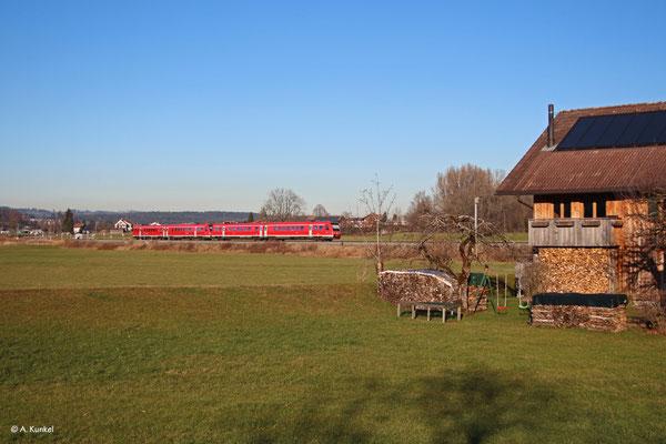 RE 3289/3389 am 2 Januar 2020 auf dem Weg nach Augsburg in Stein bei Immenstadt.