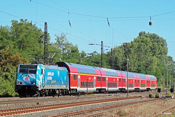 146 246 verlässt mit ihrem RE Kahl am Main (25. August 2016).