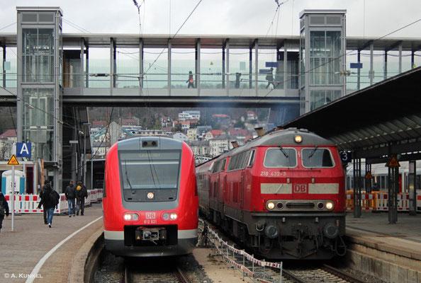 Abfahrt für IC 119 in Ulm. 612 621 muss noch etwas warten. (01. März 2019)
