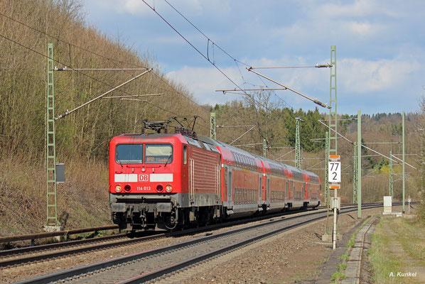 114 013 hat am 30. März 2017 den neuen Schlüchterner Tunnel auf ihrem Weg nach Frankfurt vor kurzem hinter sich gelassen.