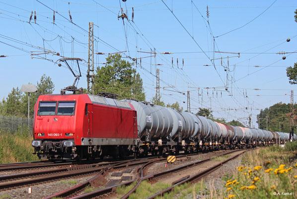 145 093, unterwegs für HSL, am 23. Juli 2019 in Großkrotzenburg.