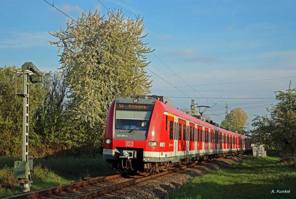 423 376 am 10. April 2017 auf der S4 kurz vor Kronberg Süd.
