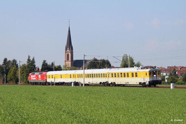 Nach einer äußerst kurzen Wende in Ober-Roden geht es für den Messzug zurück nach Offenbach (27. April 2017).