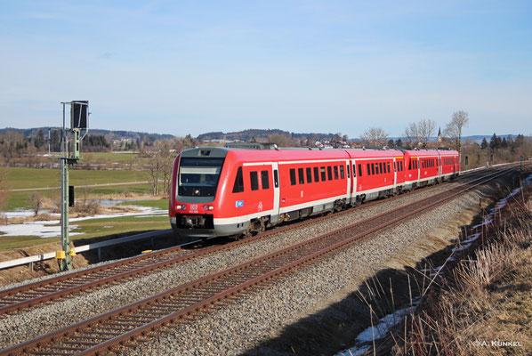 612 558/058 und 612 149/649 am 03. März 2019 als RE 3284 / 3285 nach Lindau bzw. Oberstdorf bei Waltenhofen.