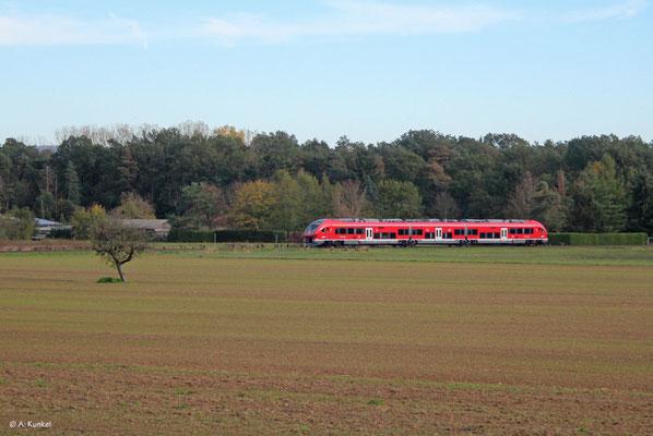 633 007 auf der Rückfahrt von Hanau nach Rödermark bei Hainburg-Hainstadt (26. Oktober 2019).