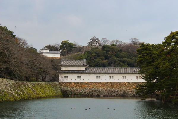 Wassergraben und umliegende Gebäude der Burg Hikone