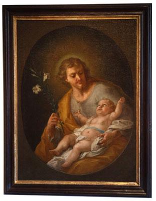 Johann Georg Bergmüller, Hl. Josef mit Kind, Öl/Lwd., sign. u. dat. 1740. Verkauft an ein süddeutsches Regionalmuseum.