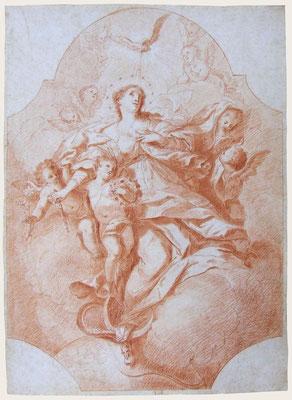 Johann Georg Bergmüller, Maria Immaculata, Rötelzeichnung. Verkauft an ein süddeutsches Museum.