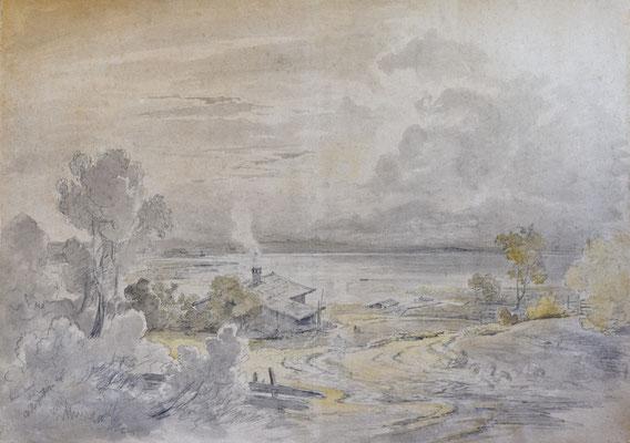 Christian Morgenstern, Blick über das Lochmannhaus auf den Starnberger See, lav. Bleistiftzeichnung, sign. u. dat. 1851. Verkauft an das Museum Starnberger See.