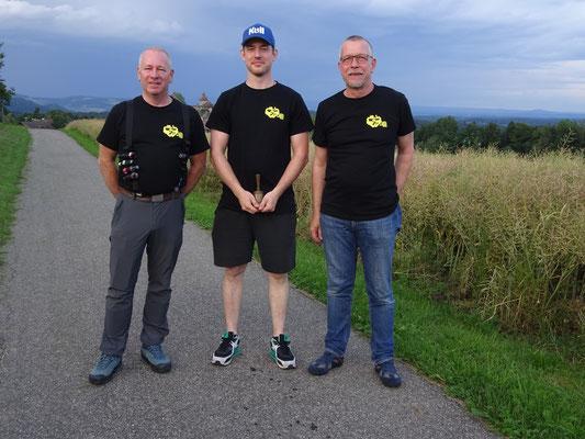 Der Präsi Michael mit den Ehrenmitgliedern Werner Zberg und Jürg Wettstein