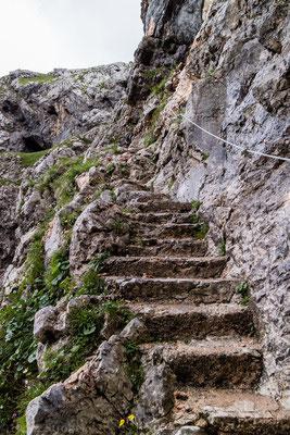 Zum Glück gibt es Stufen...