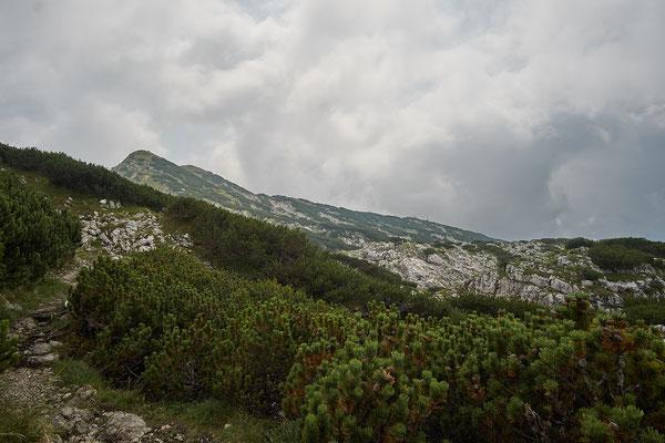 Links der Berchtesgadener Hochtrohn, rechts ganz klein das Stöhrhaus.