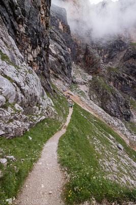 Nach diese Querung kommt der sehr steile Teil des Ramseidersteigs.