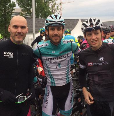 Alexander Weltermann vom Sebamed Racing Team, Hanno Rieping vom Team Strassacker und derzeit führender im German Cycling Cup, Daniel Kilb von iQ athletik - Trainer von Hanno Rieping und 4. auf der 80 Kilometer-Runde