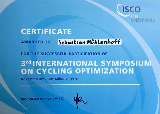 ISCO 2018 - International Symposium on Cycling Optimation (Bikefitting-Zertifikat für Sebastian Mühlenhoff)
