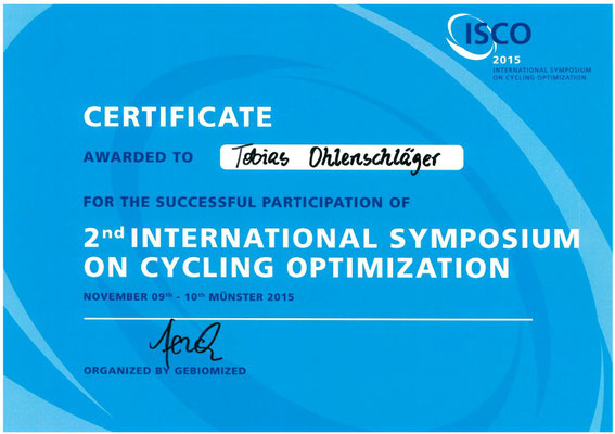 Certificate International Symposium on Cycling Optimization für Tobias Ohlenschläger iQ athletik
