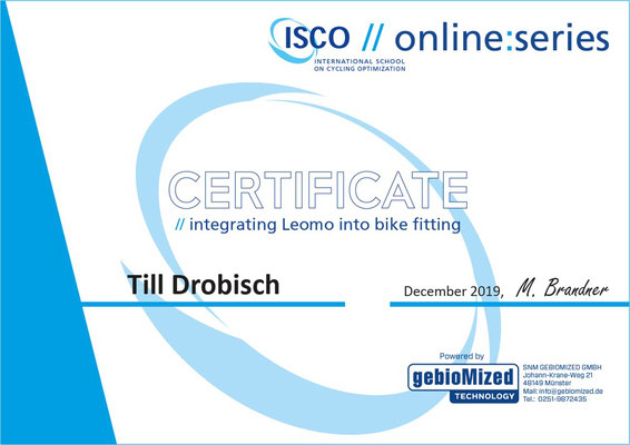 Leomo Zertifikat (integrating Leomo into bike fitting)