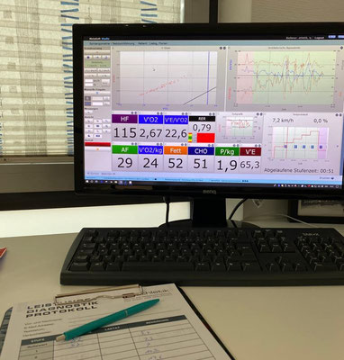 3-Dimensionale Analyse für alle wichtigen Belastungsparameter: Kreislaufsystem, Atmung, Stoffwechsel