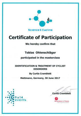 Science & Cycling Zertifikat Bikefitting für Tobias Ohlenschläger iQ athletik