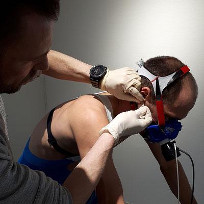 Patrick Lange absolviert eine Spiroergometrie mit Laktatdiagnostik