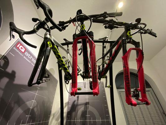 Mit gleich drei Rädern kam die ehemalige Deutsche Meisterin auf der Triathlon-Langdistanz zum Bikefitting: Cyclocrosser, Fully und Hardtail