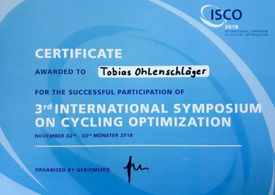 ISCO Zertifikat für Tobis Ohlenschläger von iQ athletik