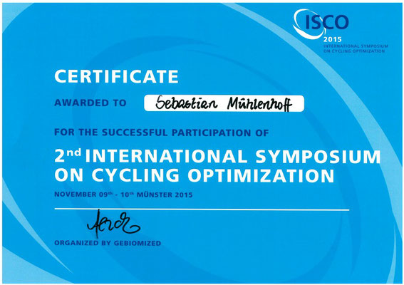 Certificate International Symposium on Cycling Optimization für Sebastian Mühlenhoff iQ athletik