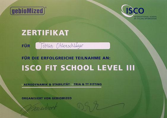 Zertifikat Aerodynamik-Bikefitting und Stabilität für Time Trial und Triathlon für Tobias Ohlenschläger iQ athletik