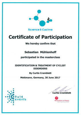 Science & Cycling Zertifikat Bikefitting für Sebastian Mühlenhoff iQ athletik