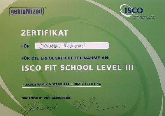 Zertifikat Aerodynamik-Bikefitting und Stabilität für Time Trial und Triathlon für Sebastian Mühlenhoff iQ athletik
