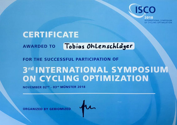 ISCO 2018 - International Symposium on Cycling Optimation (Bikefitting-Zertifikat für Tobias Ohlenschläger)