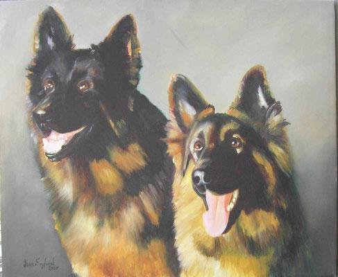Öl auf Leinwand - Schäferhunde - Grösse ca. 60x80 cm