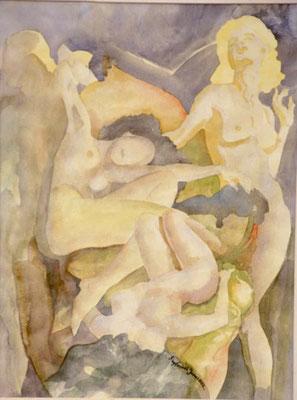 Aquarell - Der erotische Dreikampf - Grösse ca. 64x50 cm