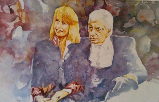 Aquarell - Gunter Sachs u. Ehefrau Mirja - Grösse ca. 36x48 cm