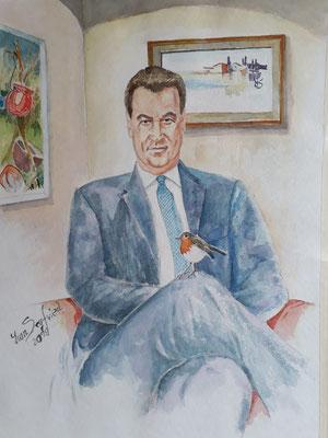 Bayer. Ministerpräsident Dr. Markus Söder - Aquarell - Grösse ca 48x36 cm