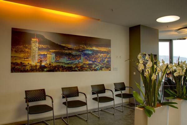Saalepraxis Wartebereich, Aluminium Panorama, 300 cm x 100 cm