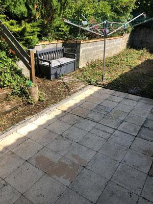 Après : taille végétaux au droit de mur de soutènement + passage karcher sur terrasse