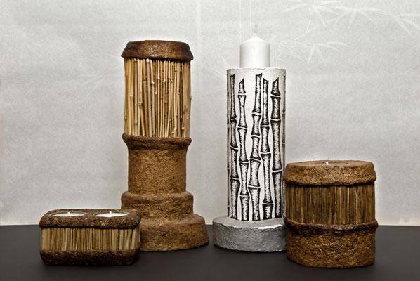 Teelichtbehälter mit Lavendel & Bambus