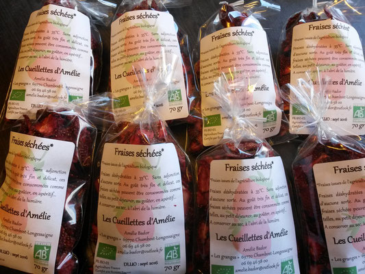 Sachets de fraises séchées