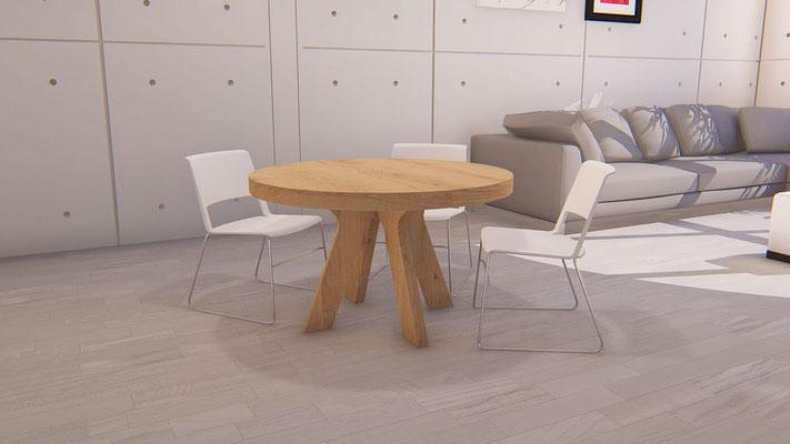 mesas de madera redondas de comedor extensibles 140
