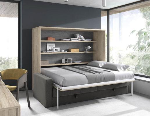 camas de matrimonio abatibles con sofa delante 3