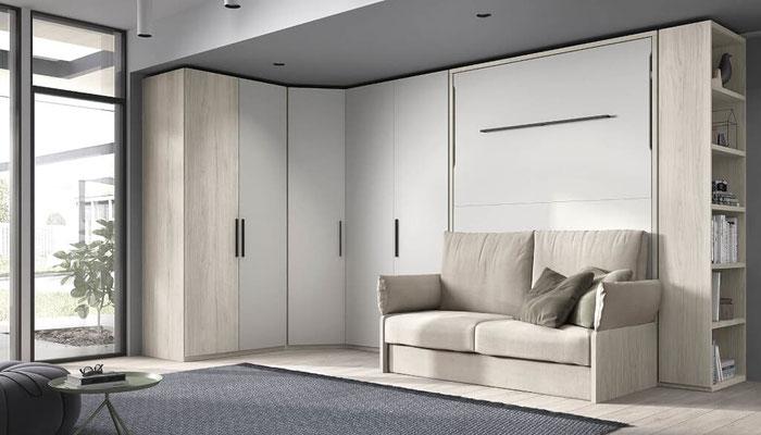 cama matrimonio abatible horizontal con sofa 3