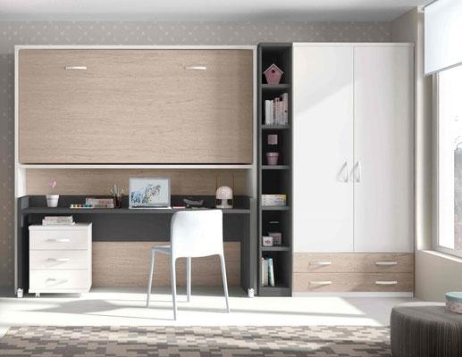 cama plegable pared con escritorio 3
