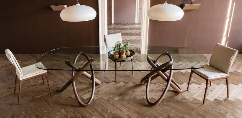 mesa ovalada cristal comedor 66