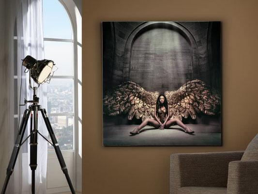 Fotografía impresa, montada en cristal templado. 100x100 cm