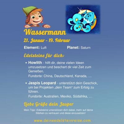Welcher Edelstein passt zum Sternzeichen Wassermann? Jasper's Sternzeichenkärtchen