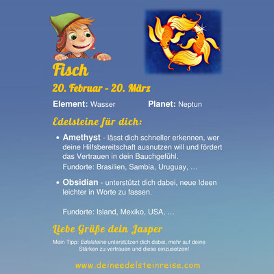 Welcher Edelstein passt zum Sternzeichen Fisch? Jasper's Sternzeichenkärtchen