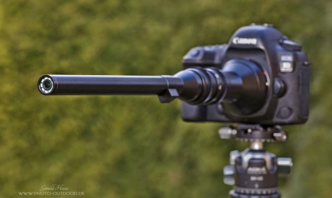 Die extreme Bauform des Laowa 24mm f/14 Macro Probe fällt sofort ins Auge!
