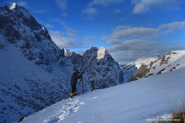 Beim Schneehuhn-Shooting in den Alpen.