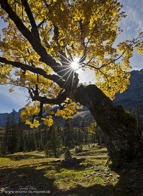 Herbst im kleinen Ahornboden. Nach einer Mountainbiketour mit rund 600 Höhenmetern bietet sich eine fantastische Kulisse.